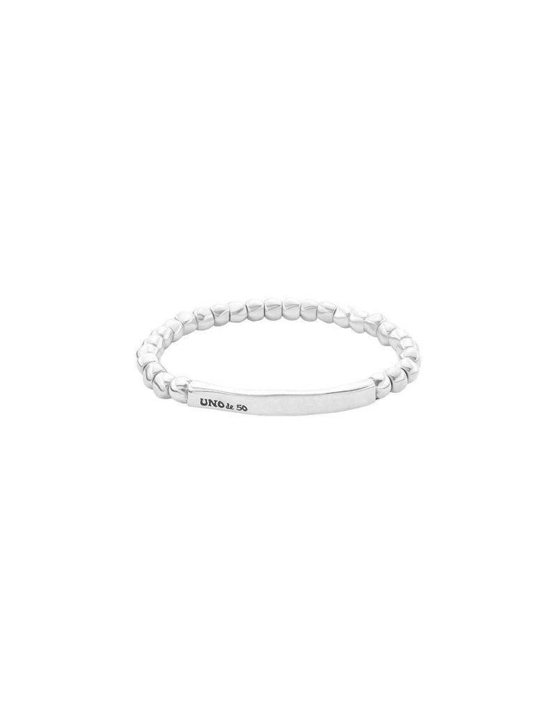 UNO DE 50 PUL1844MTL0000M Elastic bracelet in metal clad with silver.