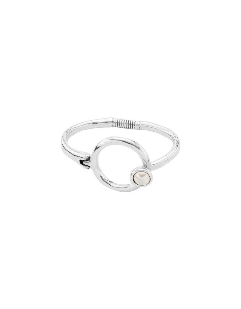 UNO DE 50 PUL1865BPLMTL0M Rigid bracelet in metal clad with silver and SWAROVSKI® ELEMENTS.