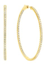 CRISLU 3010293E00CZ SSG 2.25 CTTW Large Pavé Hoop Earrings Finished in 18kt Gold