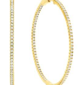 CRISLU 3010293E00CZ SSG 2.25 CTTW Large Pavé Hoop Earrings Finished in 18kt Gold