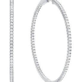 CRISLU 9010293E00CZ SSP 2.25 CTTW Large Pavé Hoop Earrings Finished in Pure Platinum