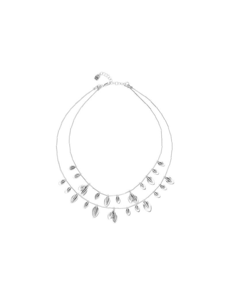 UNO DE 50 COL1418MTL0000U Short double necklace in metal clad with silver.