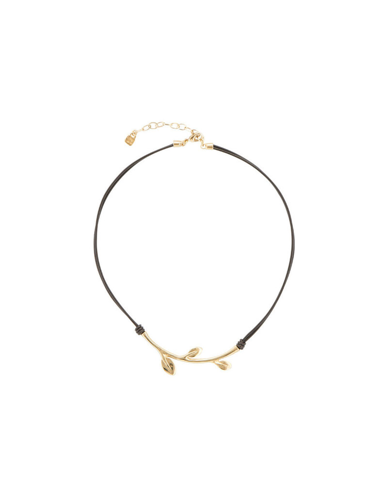 UNO DE 50 COL1436OROMAR0U Short necklace with brown leather in metal clad with gold.