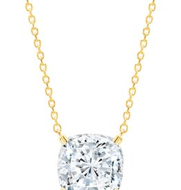 CRISLU 3011087N16CZ SSG 4.00 CTTW Bliss Cushion Cut Necklace finished in 18KT Gold