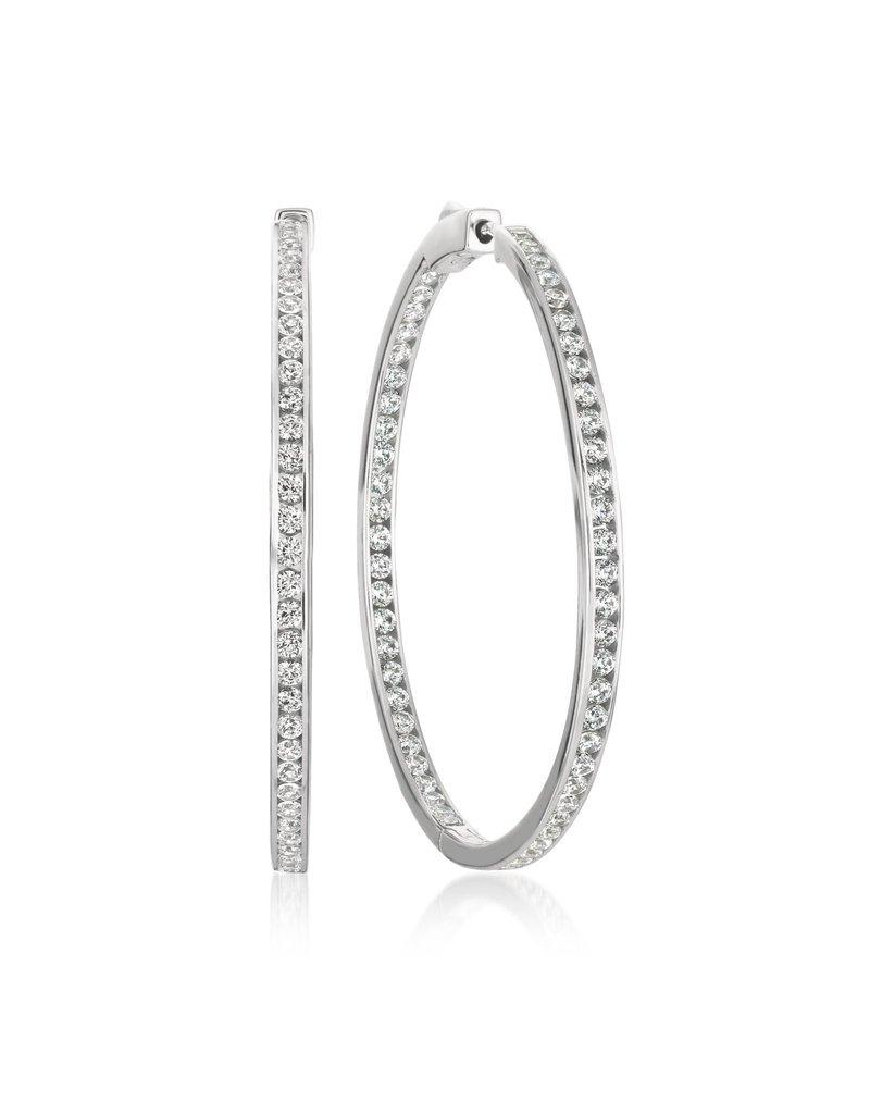 "CRISLU 909308E00CZ SSP 1.50 CTTW Classic Inside Out Hoop Earrings Finished in Pure Platinum - 1.3"" diameter"