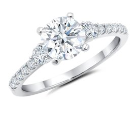 CRISLU 9011509R70CZ SSP 1.60 CTTW Brilliant Cut Ring with Accent Stones