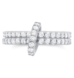 CRISLU 9011135R60CZ SSP 1.70 CTTW Double Link Ring Finished in Pure Platinum