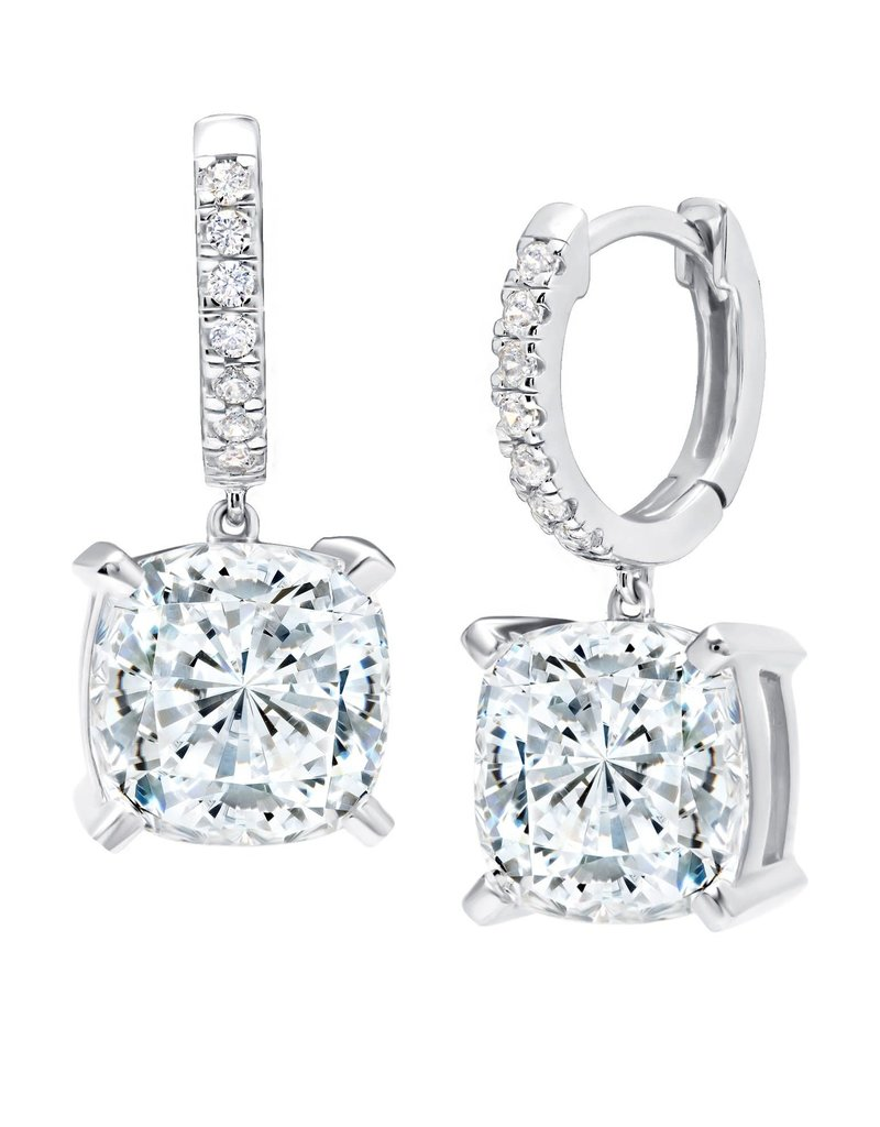 CRISLU 9011087L00CZ SSP 8.20 CTTW Bliss Cushion Cut Drop Earrings finished in Pure Platinum