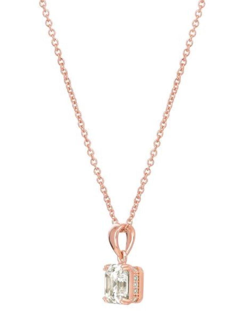 CRISLU 8011210N16CZ SSRG 2.10 CTTW Royal Asscher Cut Pendant Necklace finished in 18KT Rose Gold