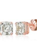 CRISLU 8011210E00CZ SSRG 4.20 CTTW Royal Asscher Cut Earrings finished in 18KT Rose Gold
