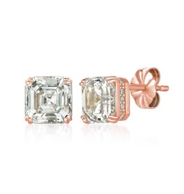 CRISLU 8011210E00CZ SSRG 4.20 CTTW Royal Asscher Cut Earrings finished in 18KT Rose Gold