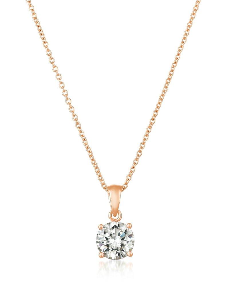 CRISLU 8011209N16CZ SSRG 1.60 CTTW Royal Brilliant Cut Pendant Necklace Finished in 18KT Rose Gold