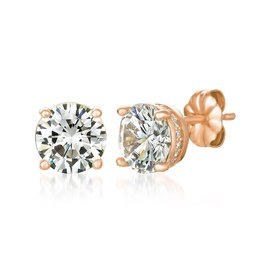 CRISLU 8011209E00CZ SSRG 3.20 CTTW Royal Brilliant Cut Earrings Finished in 18KT Rose Gold