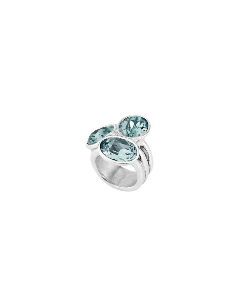 UNO DE 50 ANI0591AZUMTL0L Ring in metal clad with silver with SWAROVSKI® ELEMENTS.