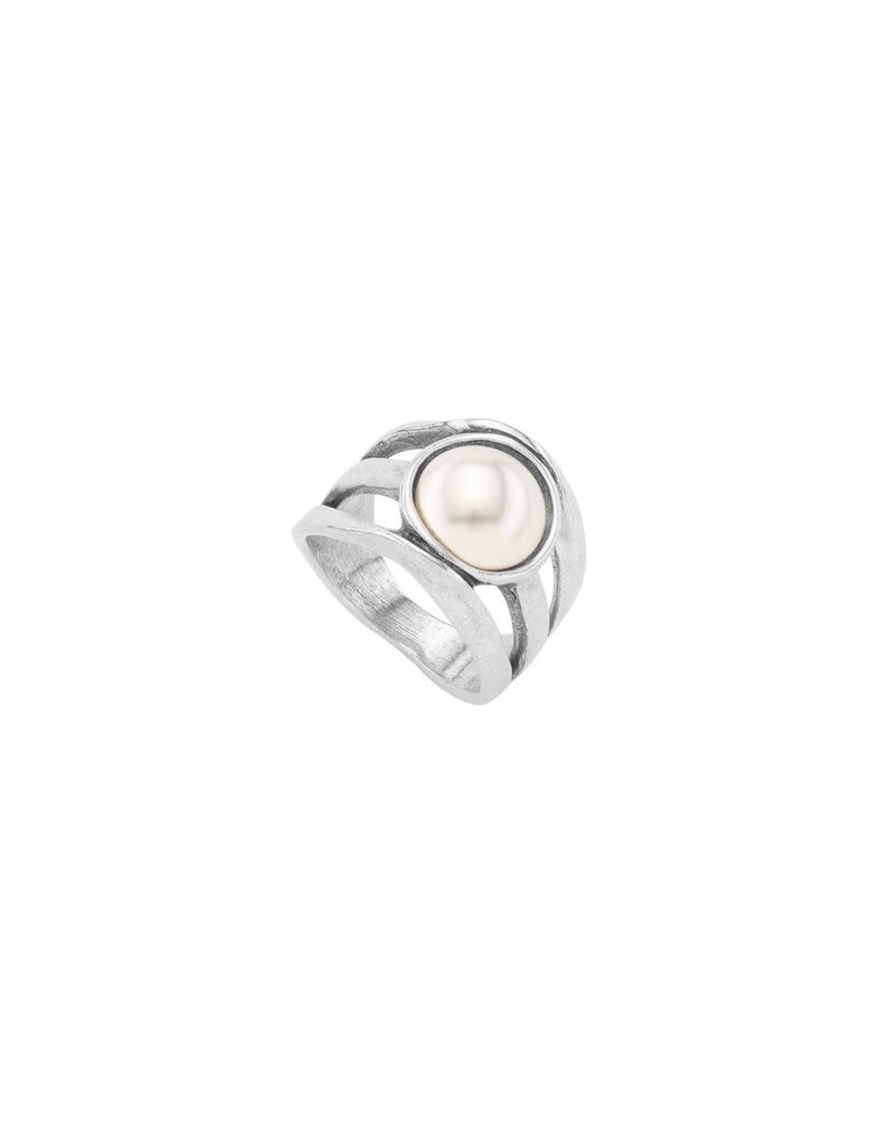 UNO DE 50 ANI0595BPLMTL18 Ring in metal clad with silver with SWAROVSKI® ELEMENTS.