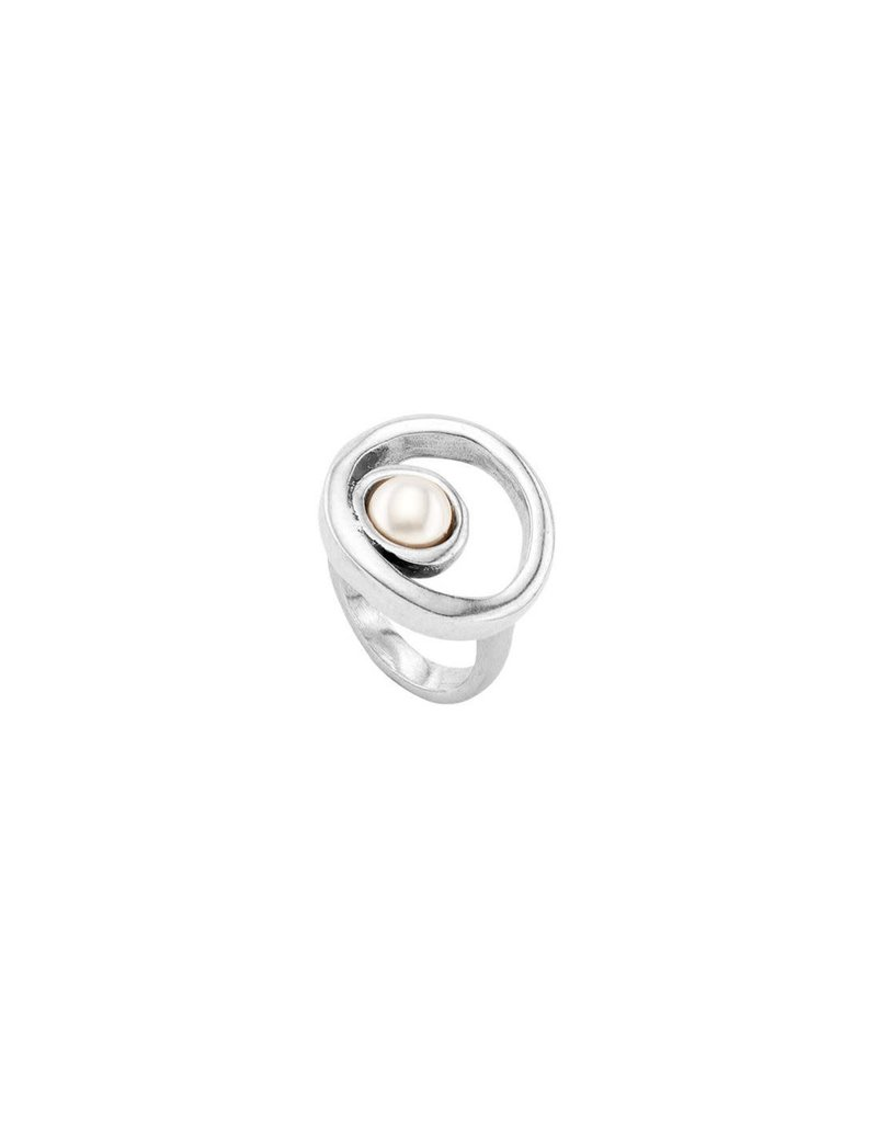 UNO DE 50 ANI0604BPLMTL15 Ring in metal clad with silver with SWAROVSKI® ELEMENTS