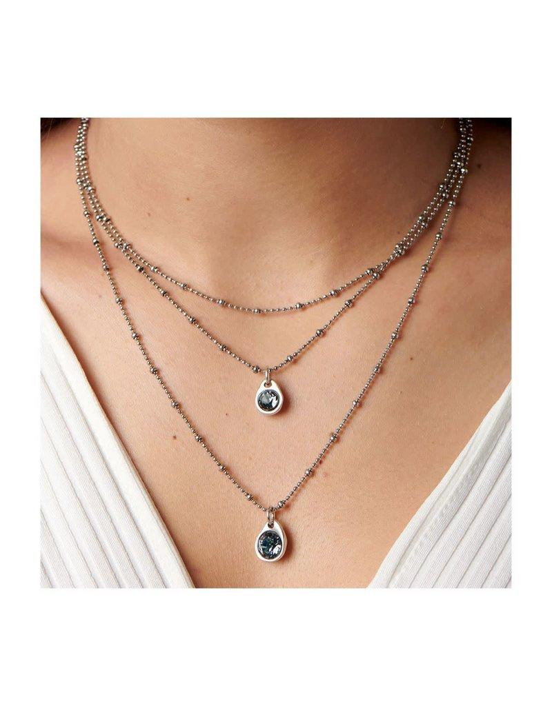 UNO DE 50 COL1362AZUMTL0U Triple midi necklace in metal clad with silver with SWAROVSKI® ELEMENTS.