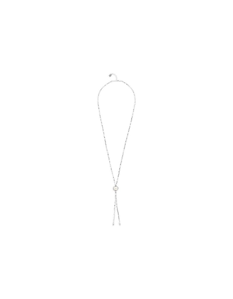 UNO DE 50 COL1396BPLMTL0U Long necklace in metal clad with silver and pearl.