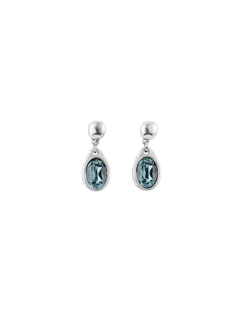 UNO DE 50 PEN0617AZUMTL0U Long earring in metal clad with silver and SWAROVSKI® ELEMENTS
