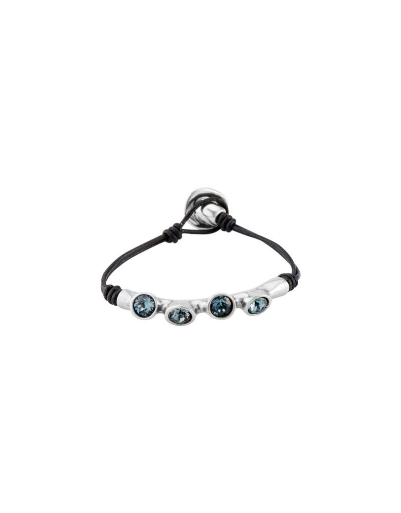 UNO DE 50 PUL1819AZUNGR0M Leather bracelet and tube in metal clad with silver and SWAROVSKI® ELEMENTS.