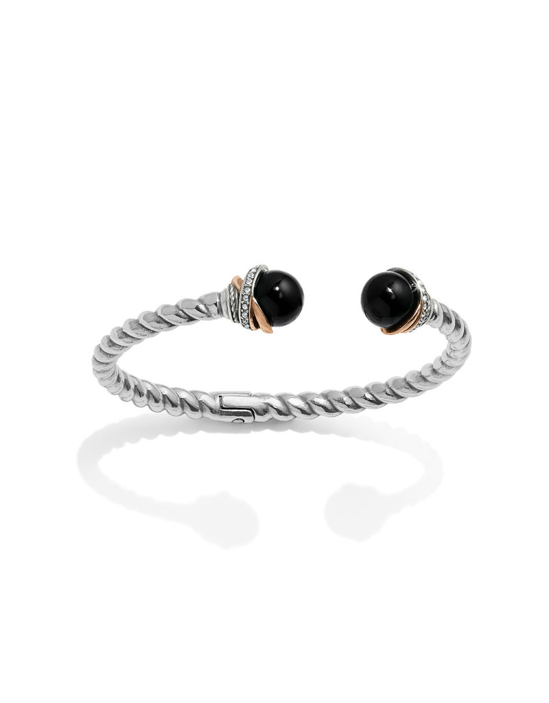 BRIGHTON JF665A Neptune's Rings Black Agate Open Hinged Bangle
