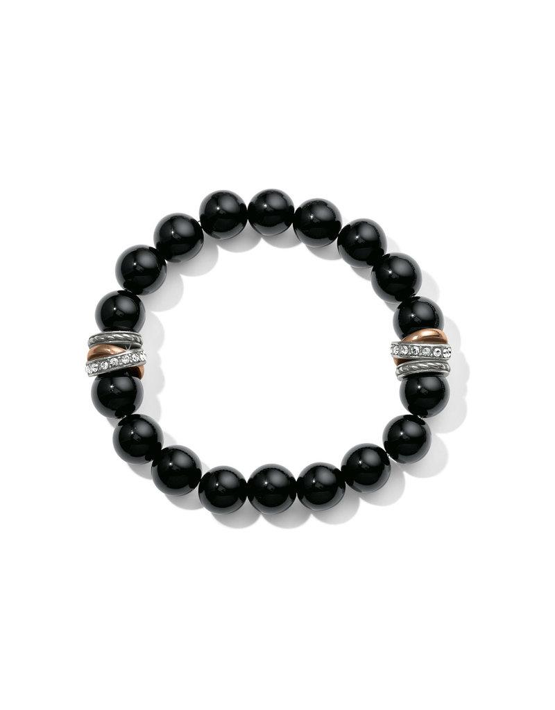 BRIGHTON JF540E Neptune's Rings Black Agate Stretch Bracelet
