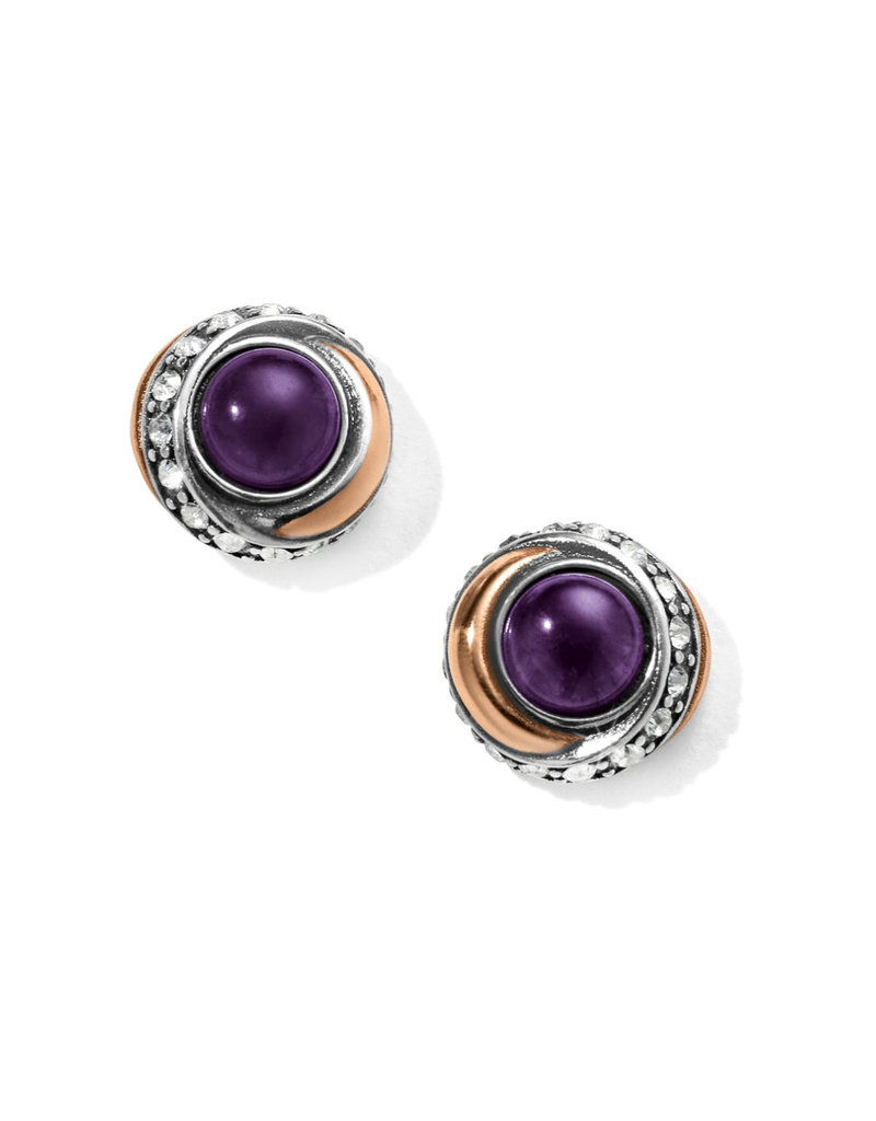 BRIGHTON JA590A Neptune's Rings Amethyst Button Earrings