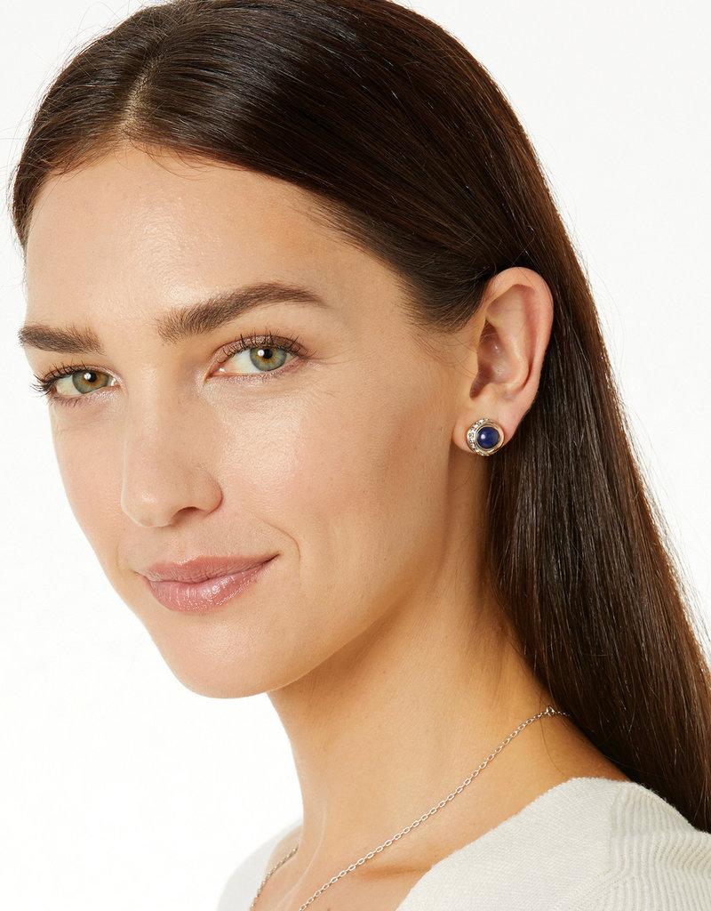 BRIGHTON JA590B Neptune's Rings Brazil Blue Quartz Button Earrings