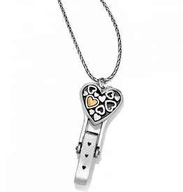 BRIGHTON J45951 Floating Heart Badge Clip Necklace