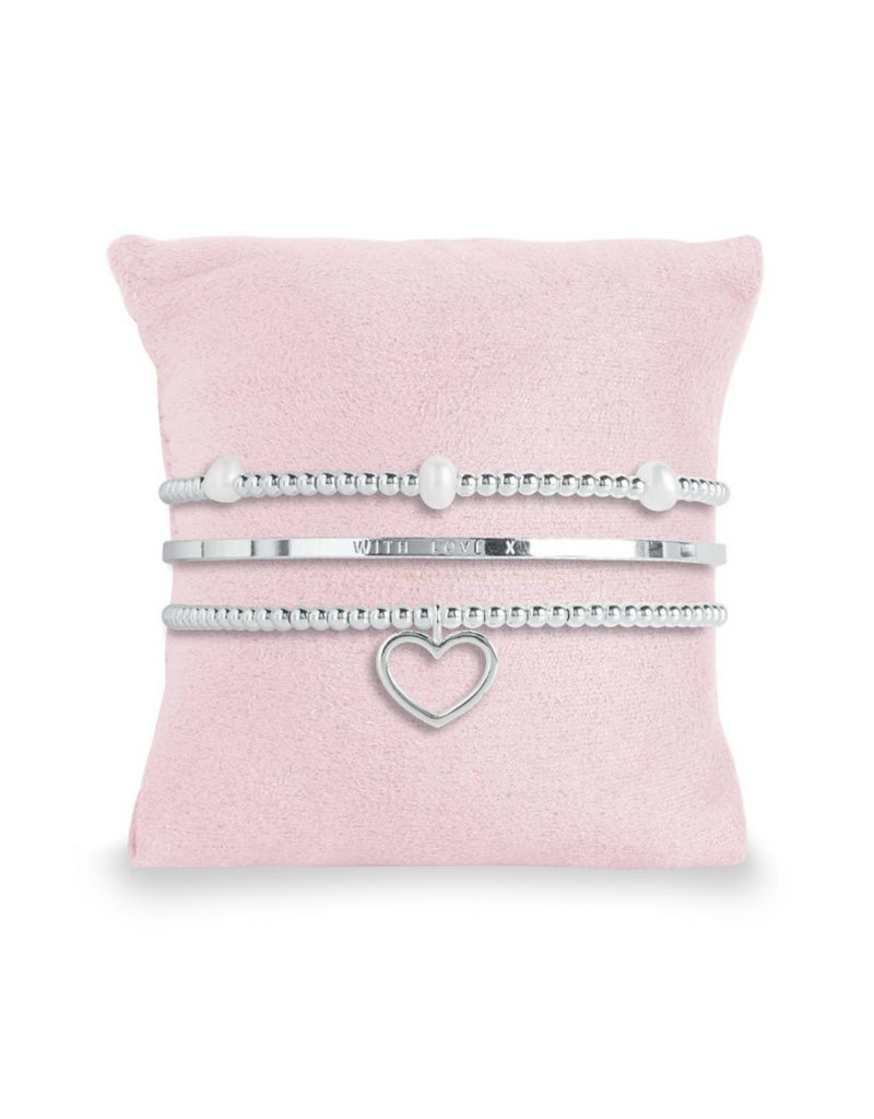 Silver Pink Box 3 Piece Stackable Inspirational Heart Bangles to My Mom
