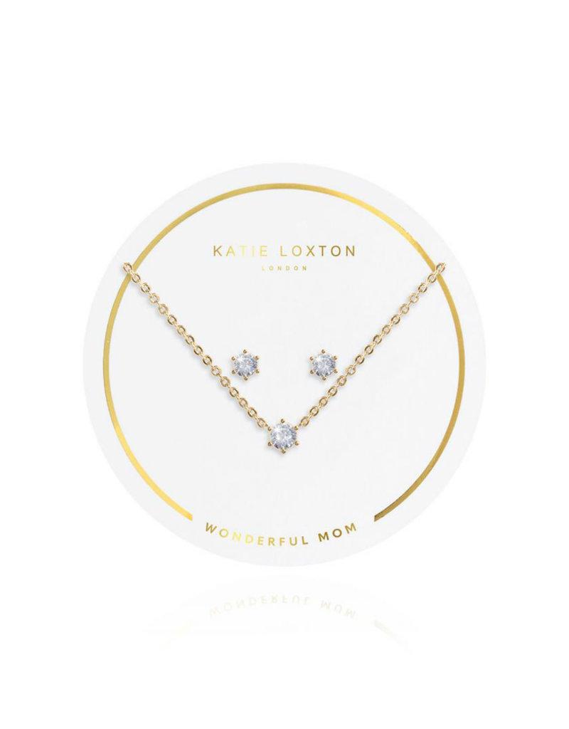 KATIE LOXTON KLJ3181 SENTIMENT SET - WONDERFUL MOM - CRYSTAL - GOLD- NECKLACE