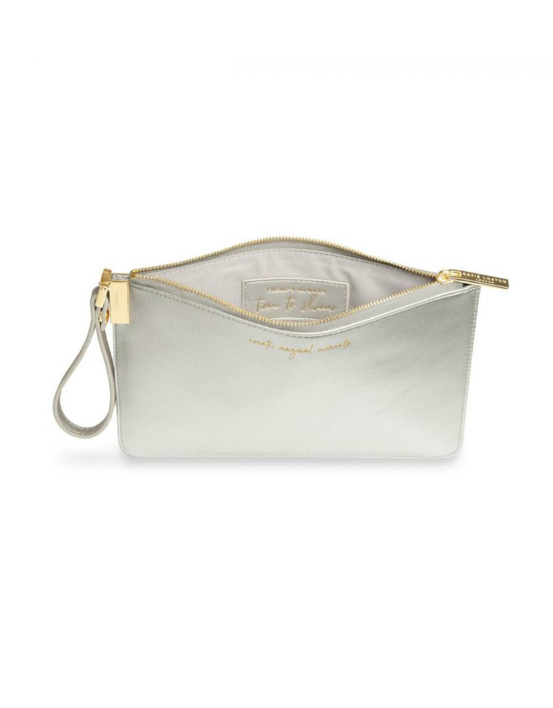 KATIE LOXTON KLB620 SECRET MESSAGE POUCH - CREATE MAGICAL MOMENTS/THERE''''''''S ALWAYS TIME TO SHINE  - METALLIC