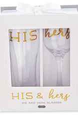 MUD PIE 44600049 HIS HERS BEER WINE GLASSES
