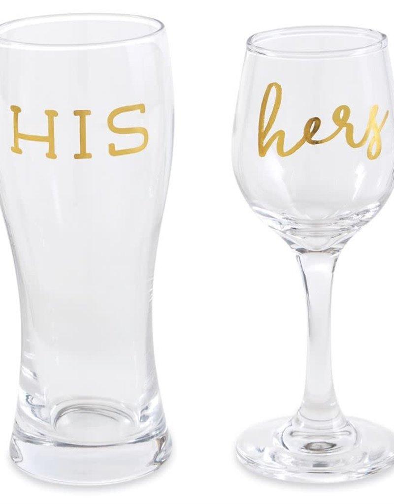 MUD PIE 44600049 HIS HERS BEER WINE GLASSES