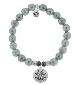 T JAZELLE TJ50969 - Grey Agate Stone Bracelet with Mandala Sterling Silver Charm
