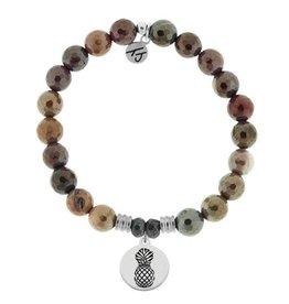 T JAZELLE TJ51208 - Mookaite Stone Bracelet with Pineapple Sterling Silver Charm