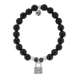 T JAZELLE TJ51490 - Onyx Stone Bracelet with Unbreakable Sterling Silver Charm