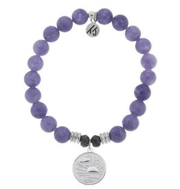 T JAZELLE TJ51533 - Purple Jade Stone Bracelet with New Day Sterling Silver Charm