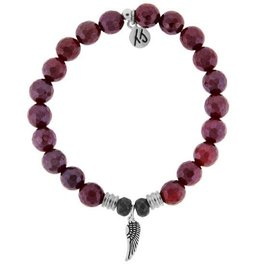 T JAZELLE TJ51587 - Red Ruby Agate Stone Bracelet with Angel Wing Sterling Silver Charm