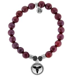 T JAZELLE TJ51591 Red Ruby Agate Stone Bracelet with Caduceus Sterling Silver Charm