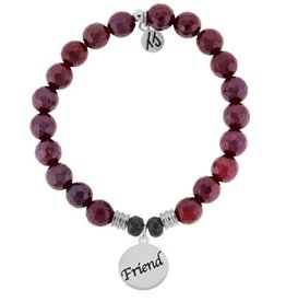 T JAZELLE TJ51629 - Red Ruby Agate Stone Bracelet with Friend Endless Love Sterling Silver Charm