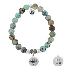 T JAZELLE TJ50112 - Turquoise Jasper Stone Bracelet with Bee You Sterling Silver Charm