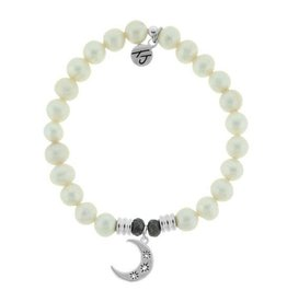 T JAZELLE TJ51039 - White Pearl Stone Bracelet with Friendship Stars Sterling Silver Charm