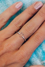 PURA VIDA OPEN HEART RING SILVER