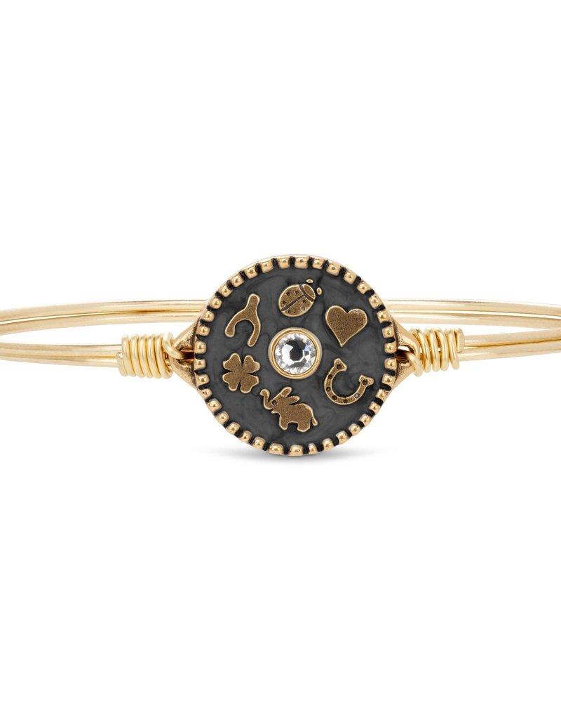 LUCA AND DANNI STC773 Good Fortune Bangle Bracelet in Black_brass tone_regular