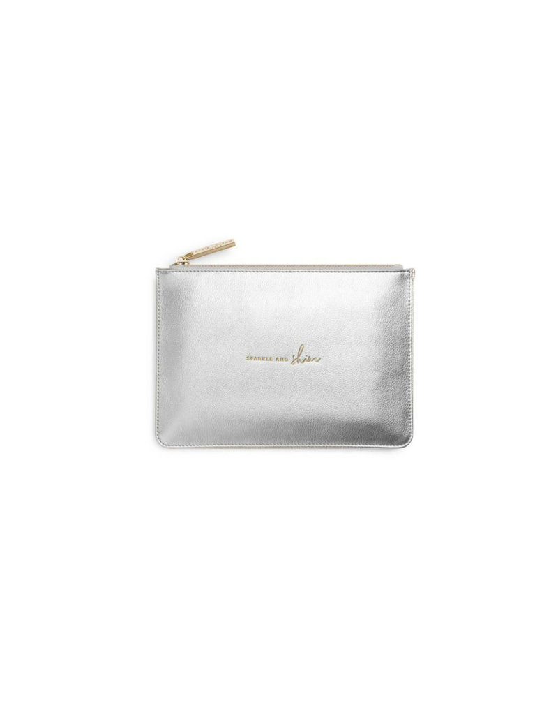 KATIE LOXTON KLB589 PERFECT POUCH GIFT SET- SPARKLE AND SHINE - BLACK AND METALLIC SILVER - 29X21X2.5CM (BOXED)
