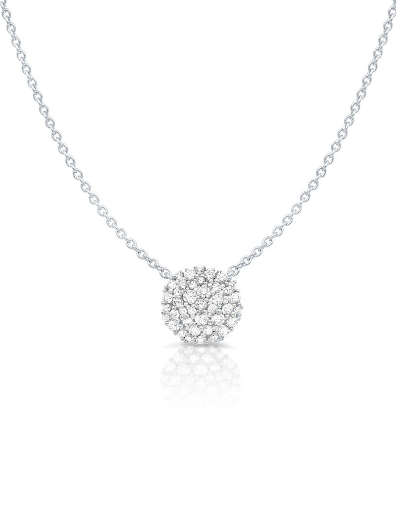 CRISLU 9011558N16CZ Round Glisten Necklace finished in Pure Platinum