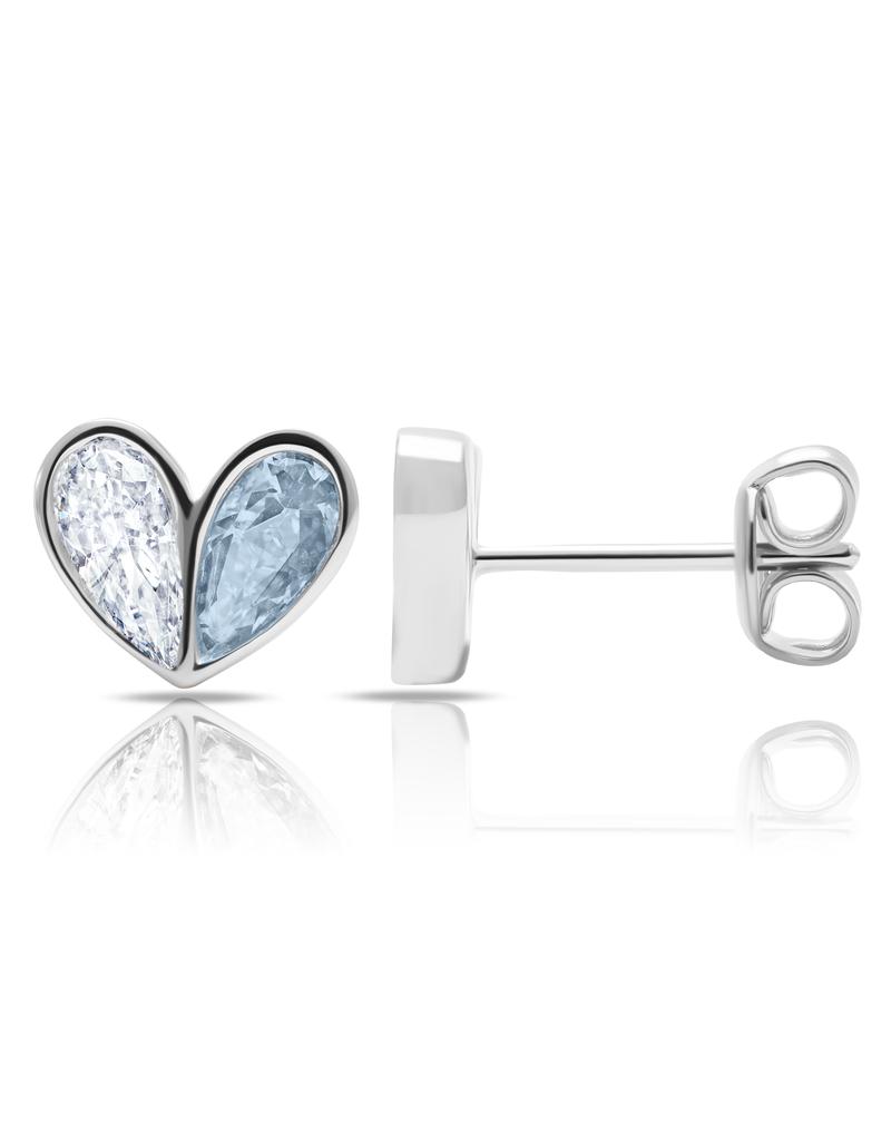 CRISLU 9011688E00AQ Crush- Platinum Heart Earrings w/ Aqua Pear Cut Stone