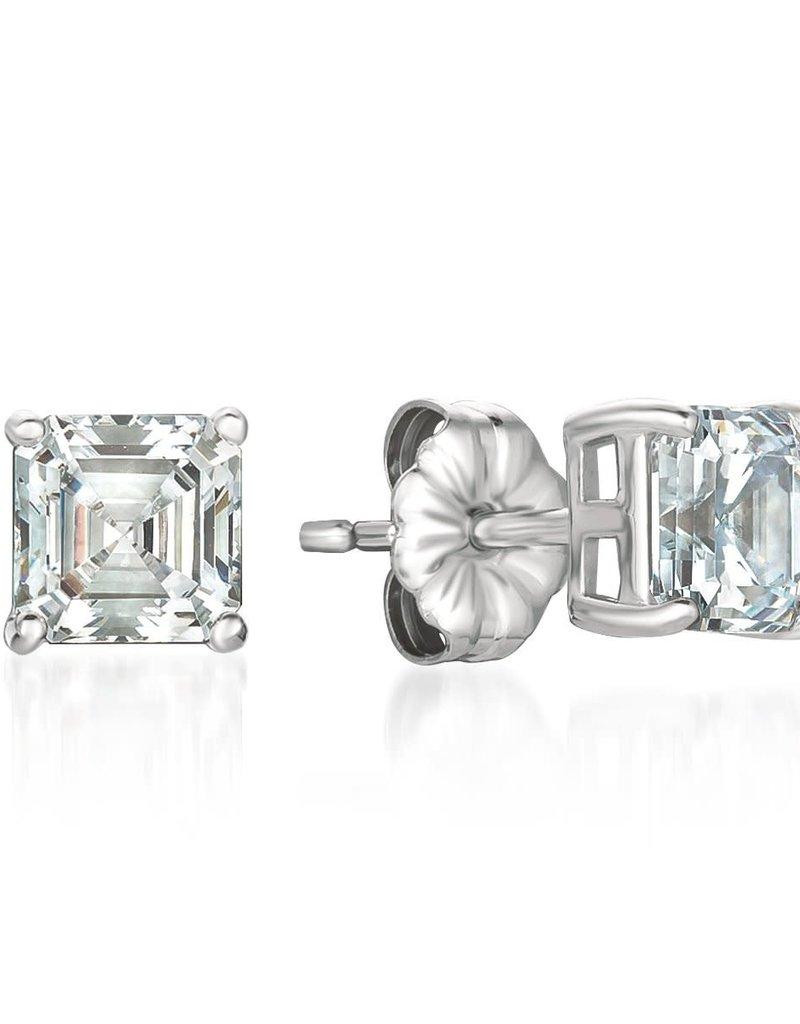 CRISLU 9011036E00CZ Solitaire Asscher Earrings Finished in Pure Platinum - 2.0 Carat