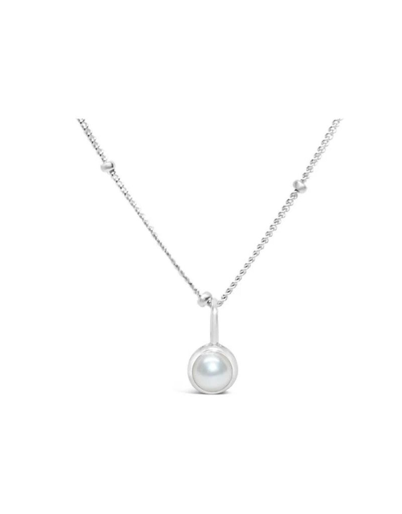 STIA CZ Bezel Necklace - Pearl (June)